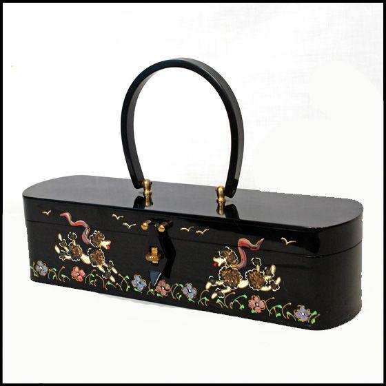 Rare Vintage Wilardy Black Lucite Poodle Box Handbag