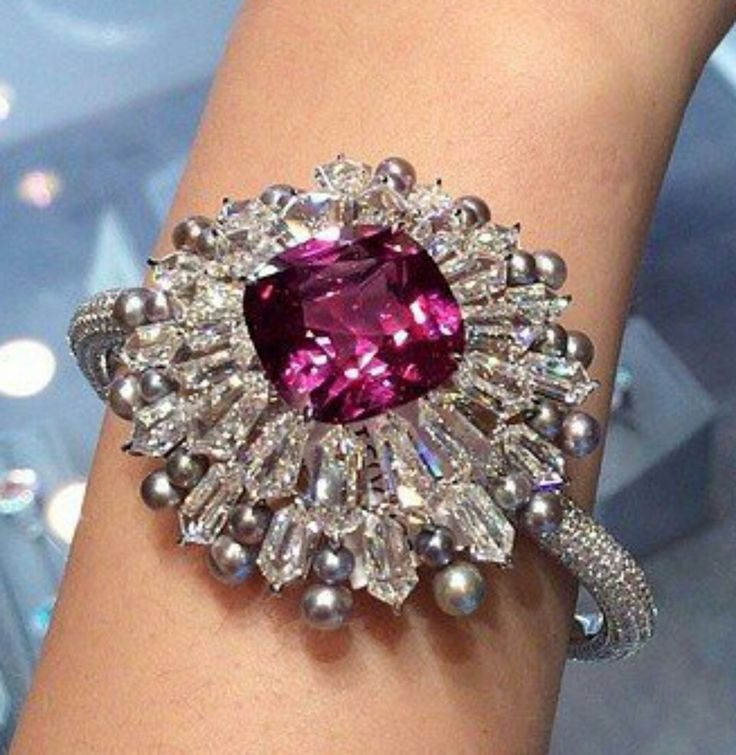 Stunning Diamond, Pearl & Spinel Bangle by Forms @Christiesjewels