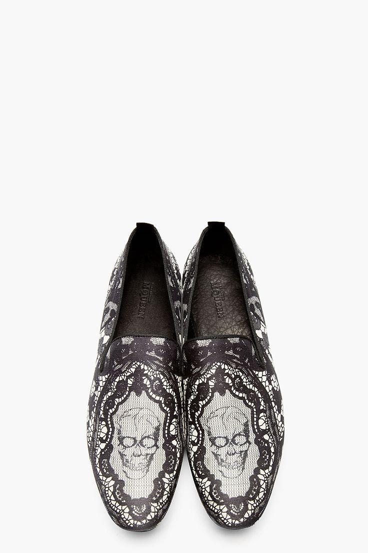 ALEXANDER MCQUEEN Black Lace Skull Loafers
