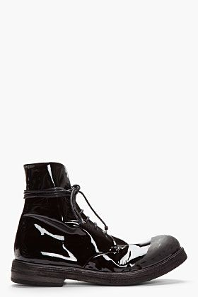 Marsell, Patent Leather Scuffed Lace-Up Boots
