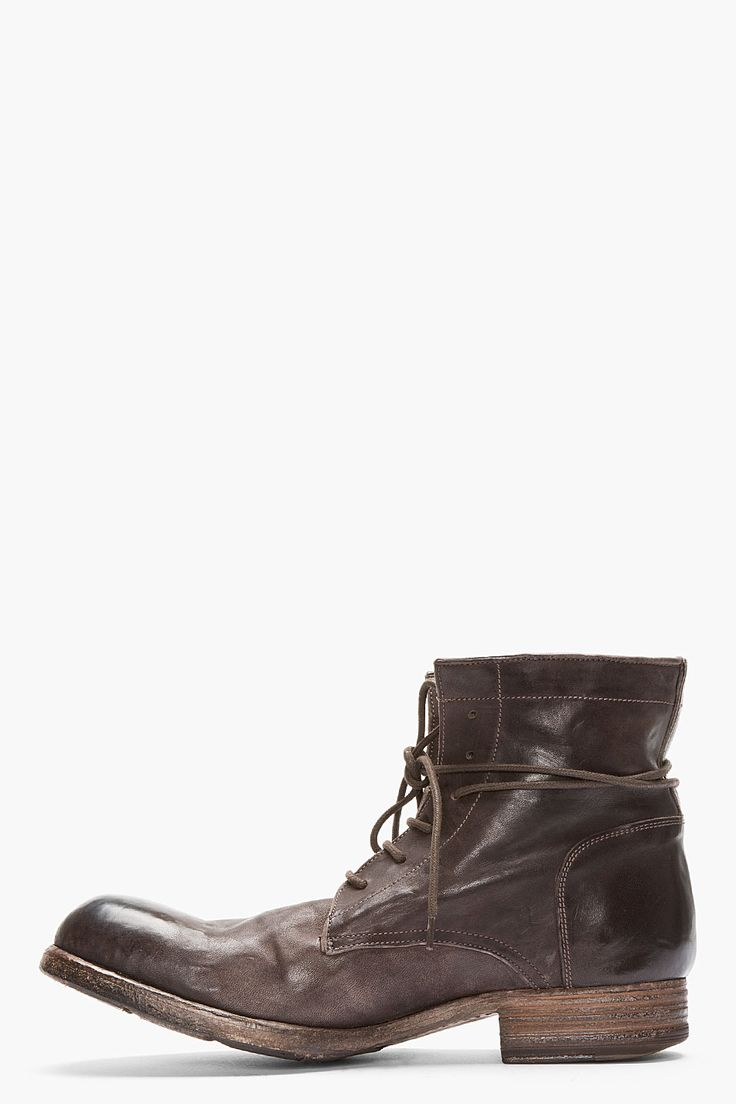 OFFICINE CREATIVE - Dark Brown Polished Leather Shine Boots