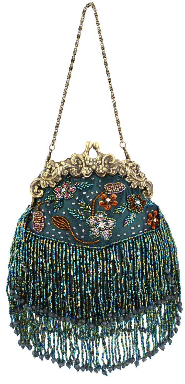 MG Collection Green Vintage Seed Bead Flowers / Tassles Evening Clutch Handbag: ...