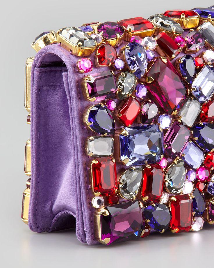 Womenu0026#39;s Purses  Prada Jeweled Satin Clutch Bag Purple - Neiman Marcus - Fashion Inspire ...