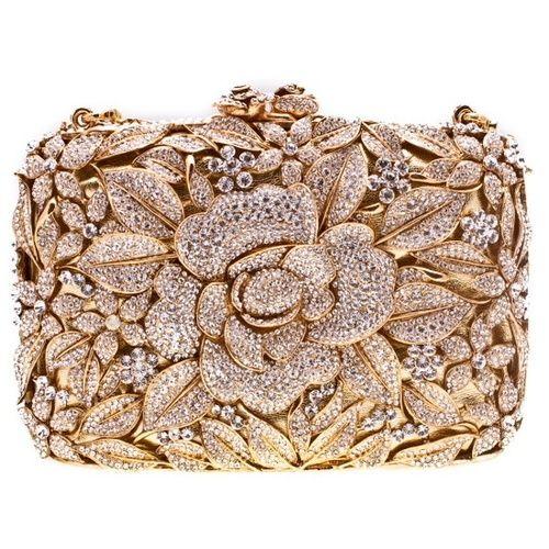 zanzaire:  Swarovski Crystal Flower Clutch in Gold …shopbijou. (via PINK WEDDI...