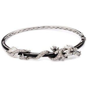 Borgioni Enamel Diamond Dragon Bangle Bracelet