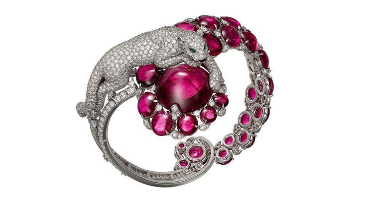 Résonances de Cartier Panther bracelet with rubellites and diamonds