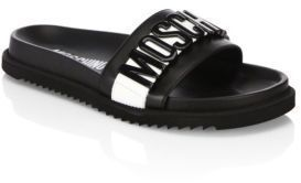 Moschino Logo Slide Leather Sandals