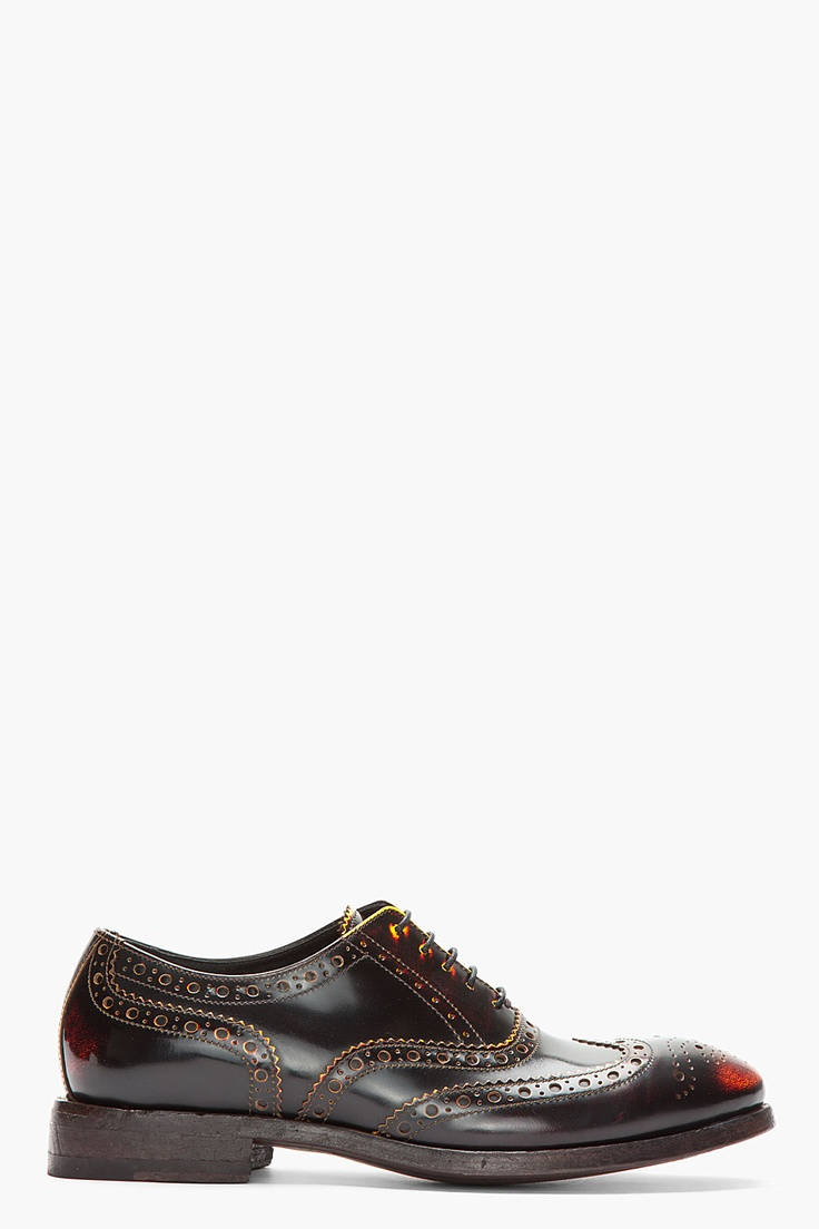PAUL SMITH Yellow & Red Brushed Leather Wingtip Chuck Brogues
