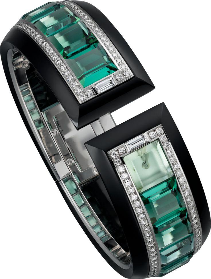 Cartier High Jewelry HPI00893 Watch set with 12 emerald cut green tourmalines an...