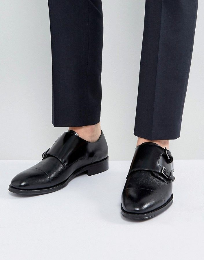 ALDO Mantesana Leather Monk Shoes In Black