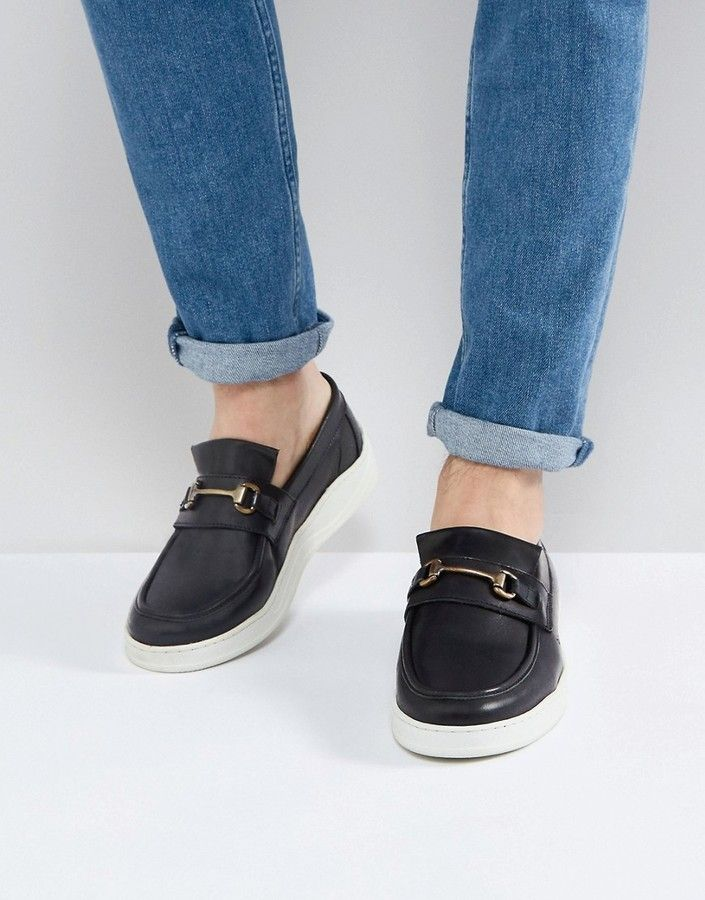 ASOS Loafers In Black Leather With White Sole And Snaffle