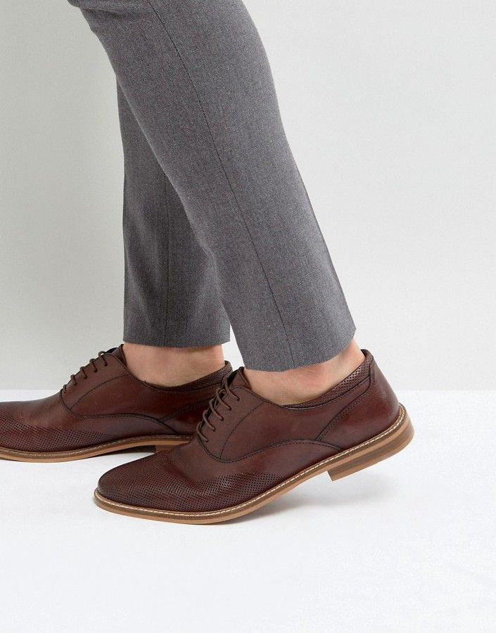 ASOS Oxford Brogue Shoes In Brown Leather With Perforated Detail