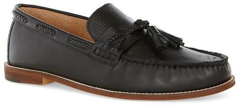 Black Leather Weaved Loafers