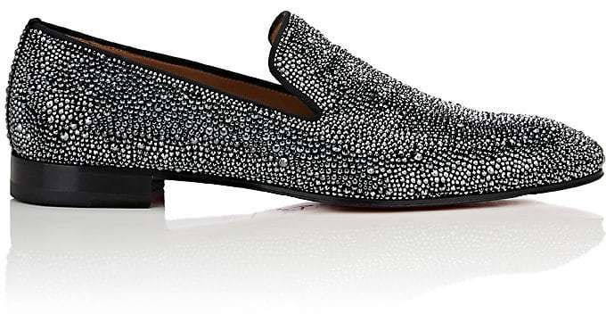 Christian Louboutin Men's Dandelion Strass Flat Suede Venetian Loafers