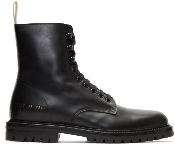 Common Projects Black Winter Combat Boots