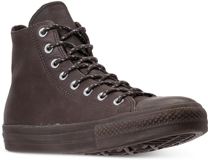 Converse Men's Chuck Taylor All Star Leather High Top Casual Sneakers from F...