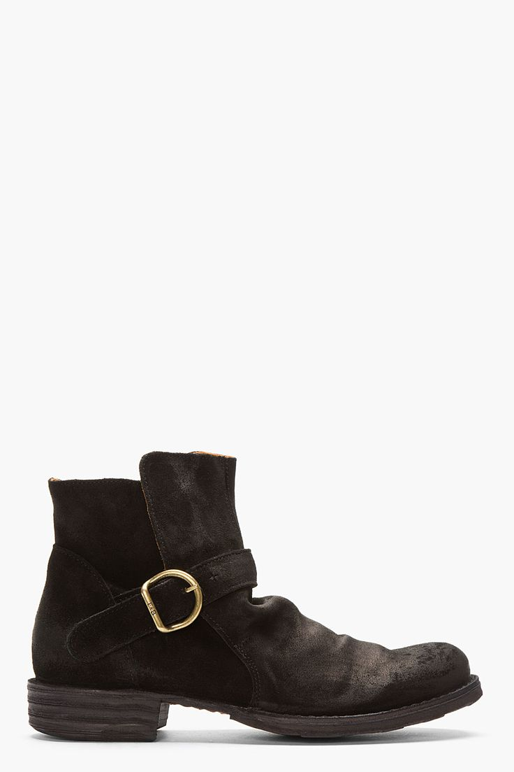 FIORENTINI + BAKER Black Suede buckled Eternity 752 Boots