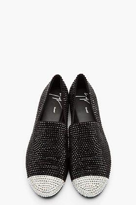 GIUSEPPE ZANOTTI Black crystal studded Kevin 10 loafers
