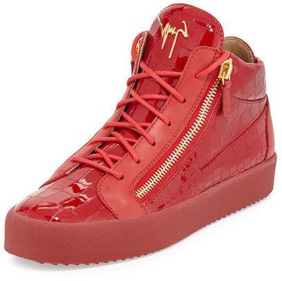 Giuseppe Zanotti Men's Crocodile-Embossed Leather Mid-Top Sneaker, Red