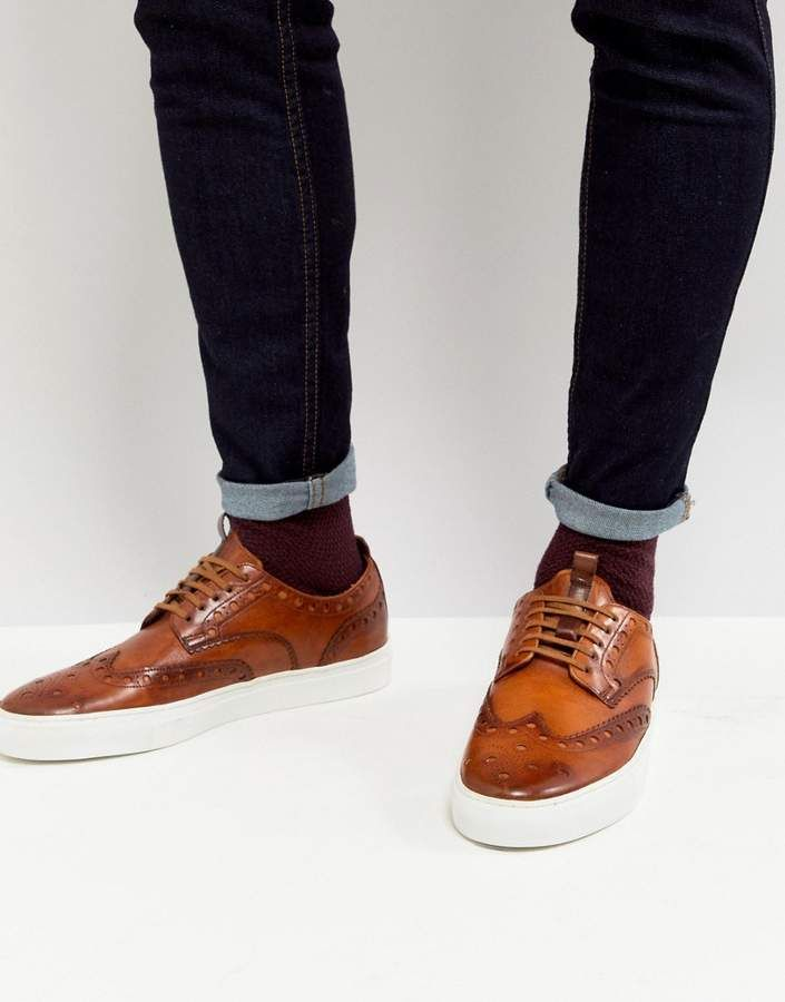 Grenson Leather Brogue Sneakers In Tan