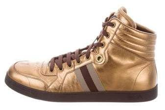 Gucci Web-Trimmed Metallic Sneakers