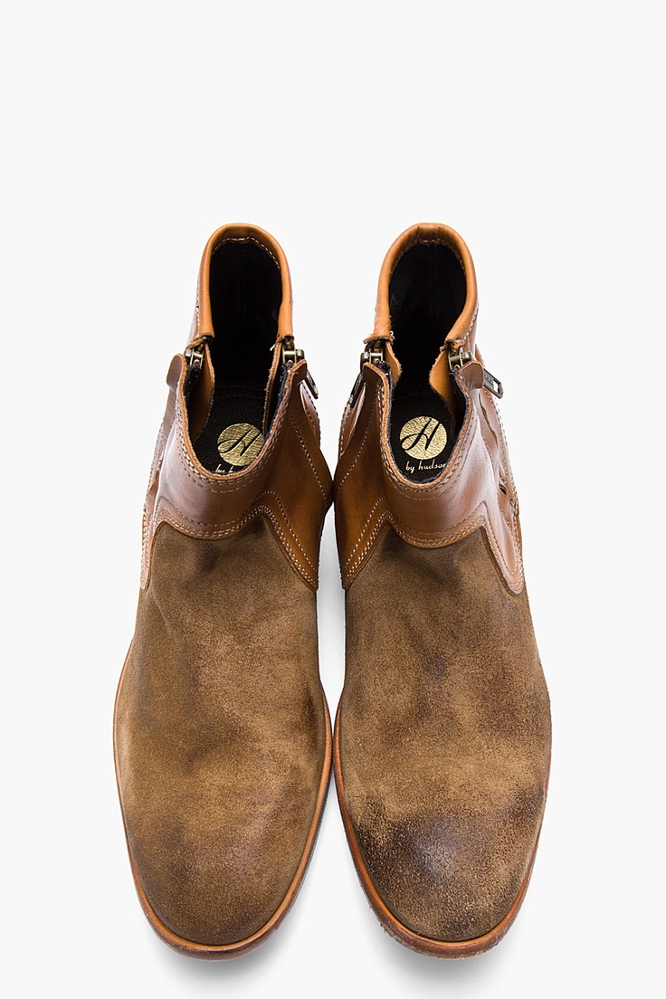 H BY HUDSON Brown leather and brushed suede Dalton boots #boots #menstyle #shoes...