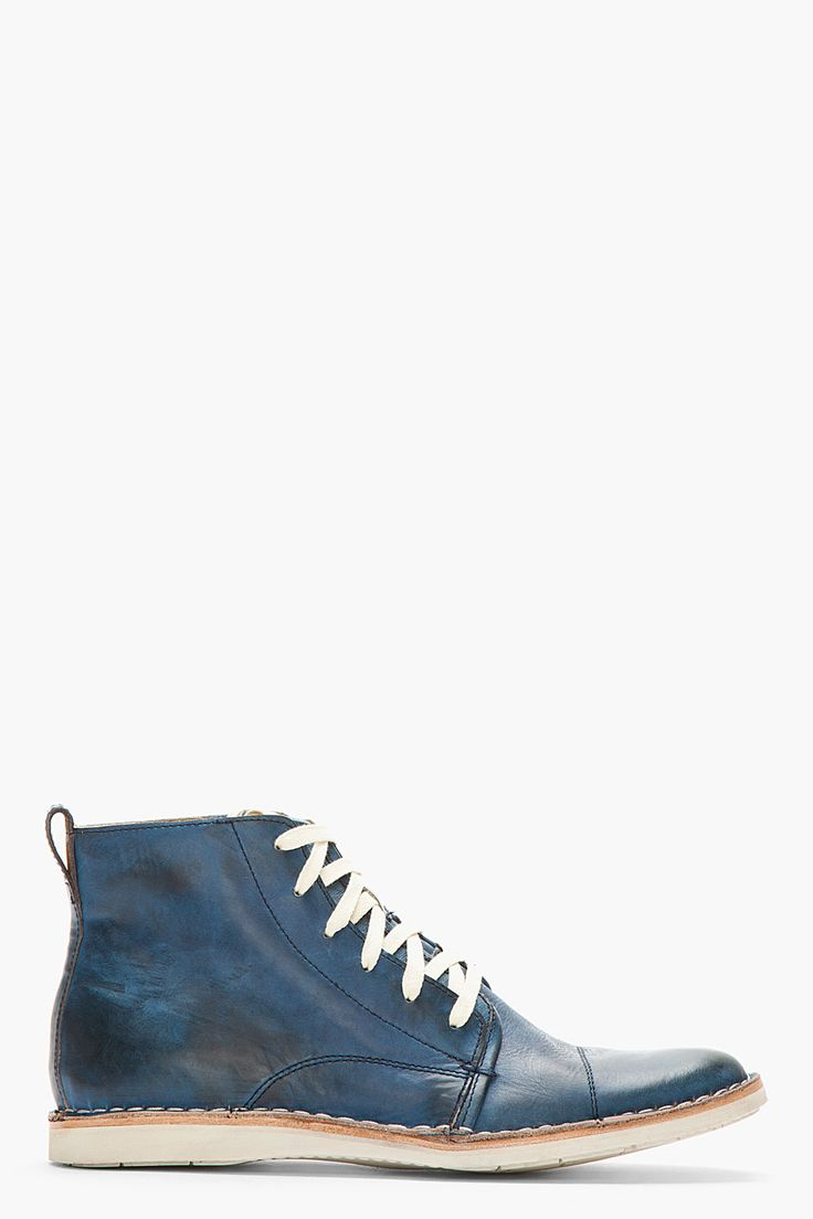 JOHN VARVATOS U.S.A Blue Leather Double-Lace Barrett Boots