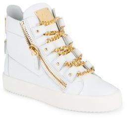 Leather Chain Lace-Detailed High-Top Sneakers