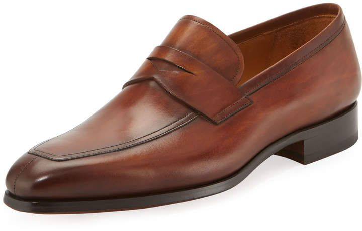 Magnanni for Neiman Marcus Calf Leather Penny Loafer, Brown