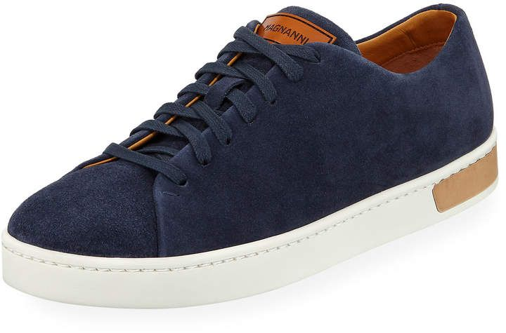 Magnanni for Neiman Marcus Lace-Up Suede Platform Sneaker