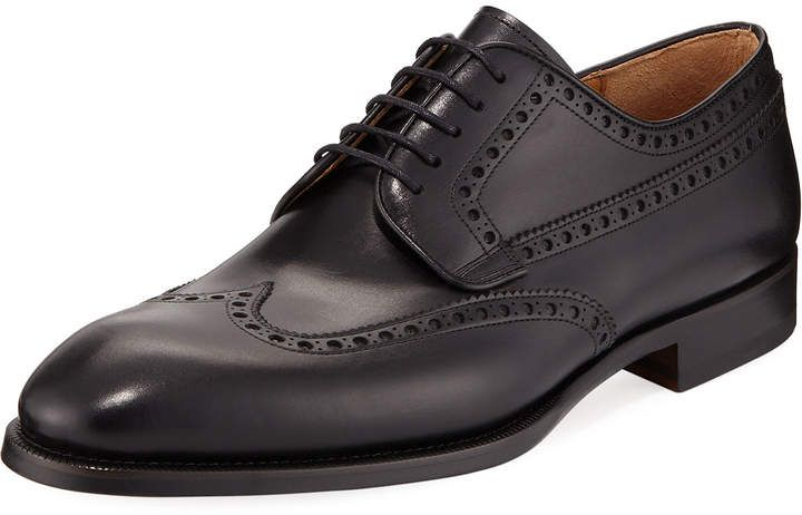 Magnanni for Neiman Marcus Lace-Up Wing-Tip Oxford, Black