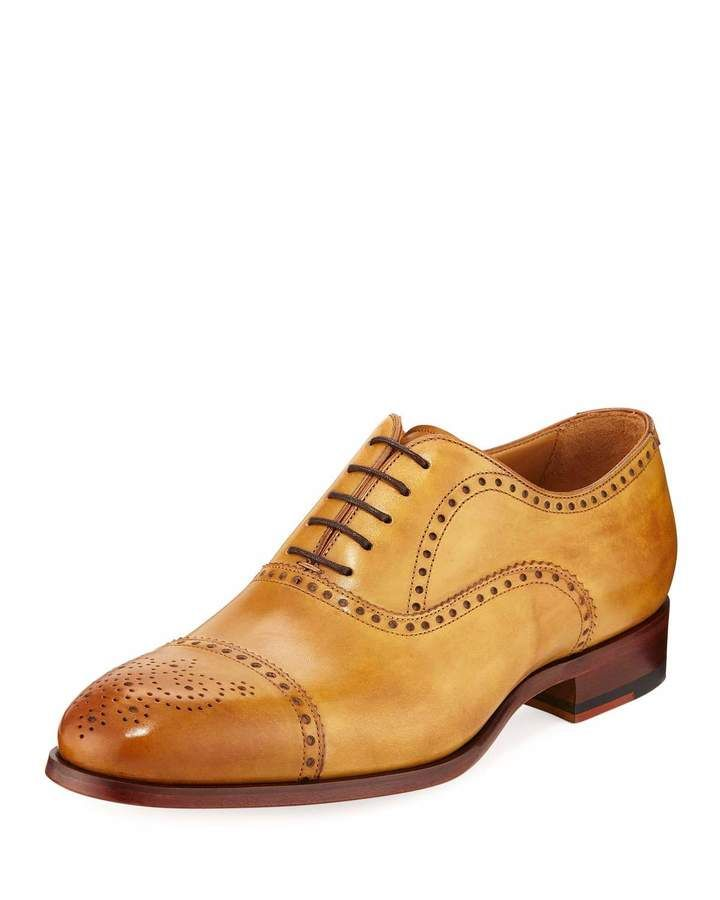 Magnanni for Neiman Marcus Salou Leather Brogue Wing-Tip Oxford