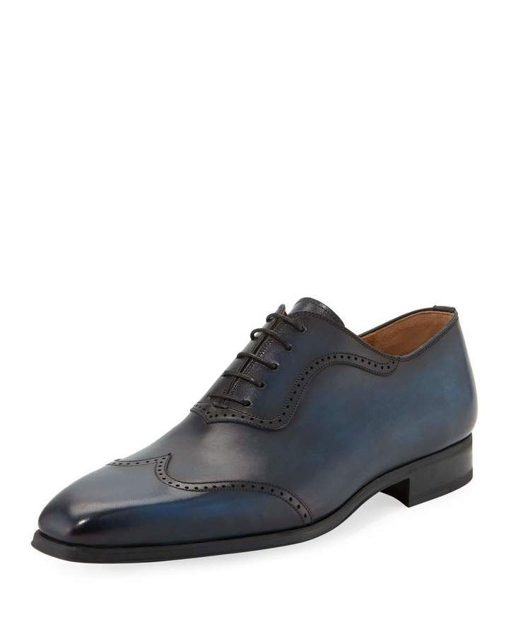 Magnanni for Neiman Marcus Wing-Tip Lace-Up Oxford