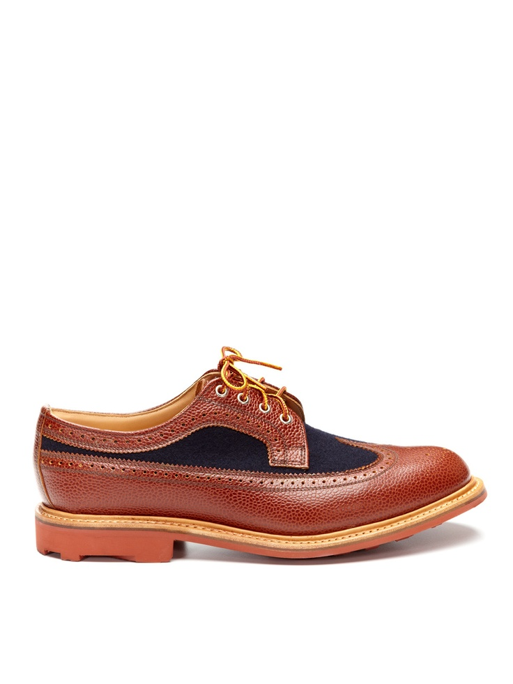 MARK MCNAIRY Leather and Wool Long Wing Brogues