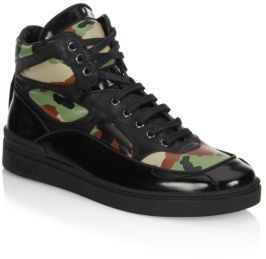Moschino Camo Leather High Top Sneakers