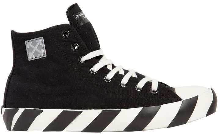 Striped Cotton Canvas High Top Sneakers