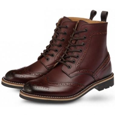 Outdoor Shoes BHW7701 Burgundy - Lace Up, Round Toe, Wing Tip, Leather Boots, Hi...