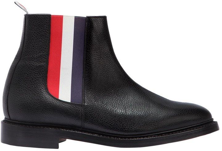 Pebbled Leather Striped Chelsea Boots
