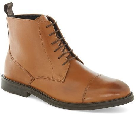Tan Leather Lace Toecap Boots