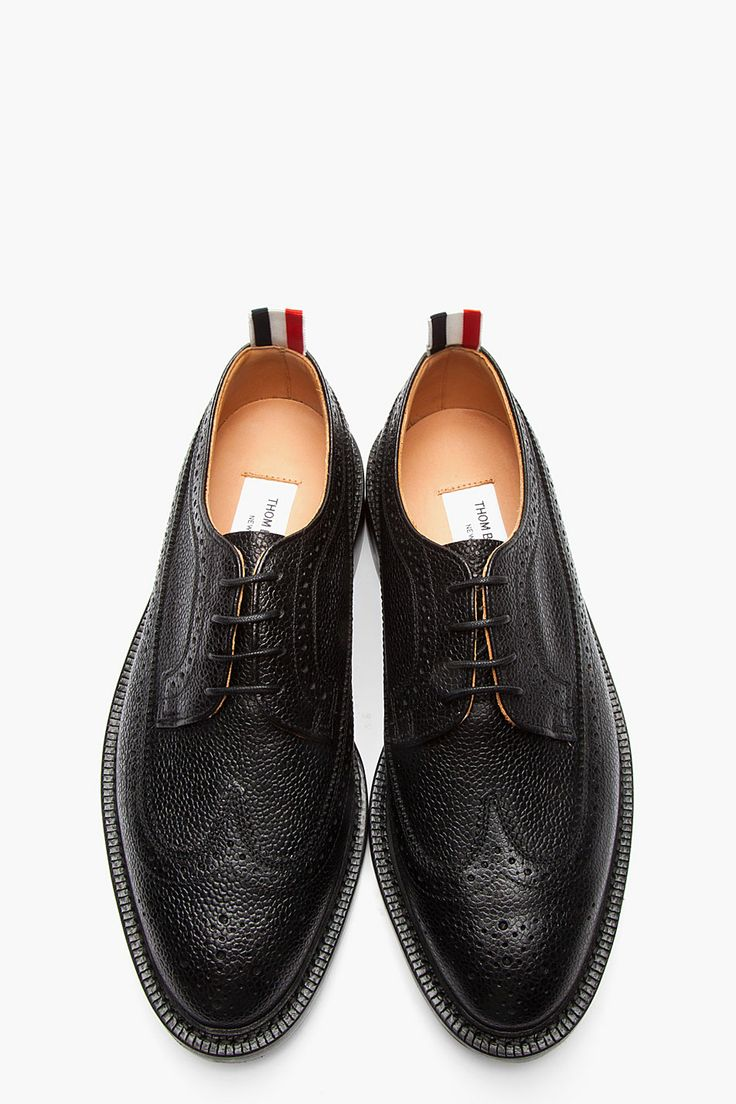 THOM BROWNE // Black Scotchgrain Leather Longwing Brogues 32381M049001 Low top s...
