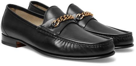 TOM FORD York Chain-Trimmed Leather Loafers