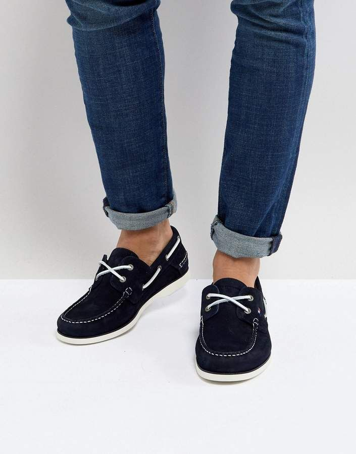 Tommy Hilfiger Classic Suede Boat Shoes in Navy