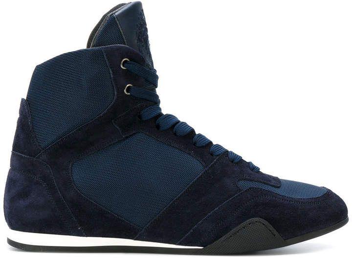 Versace hi-top panelled sneakers
