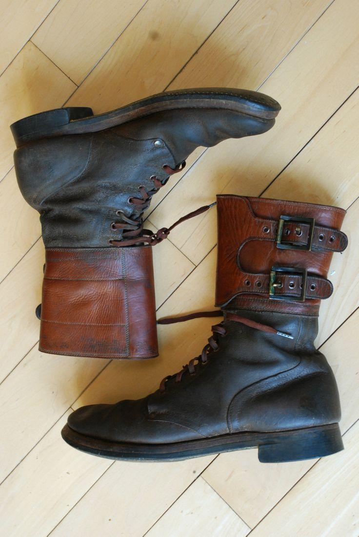 WWII World War 2 COMBAT Jumper buckle Brown Leather Men's Boots 12 A VTG red...