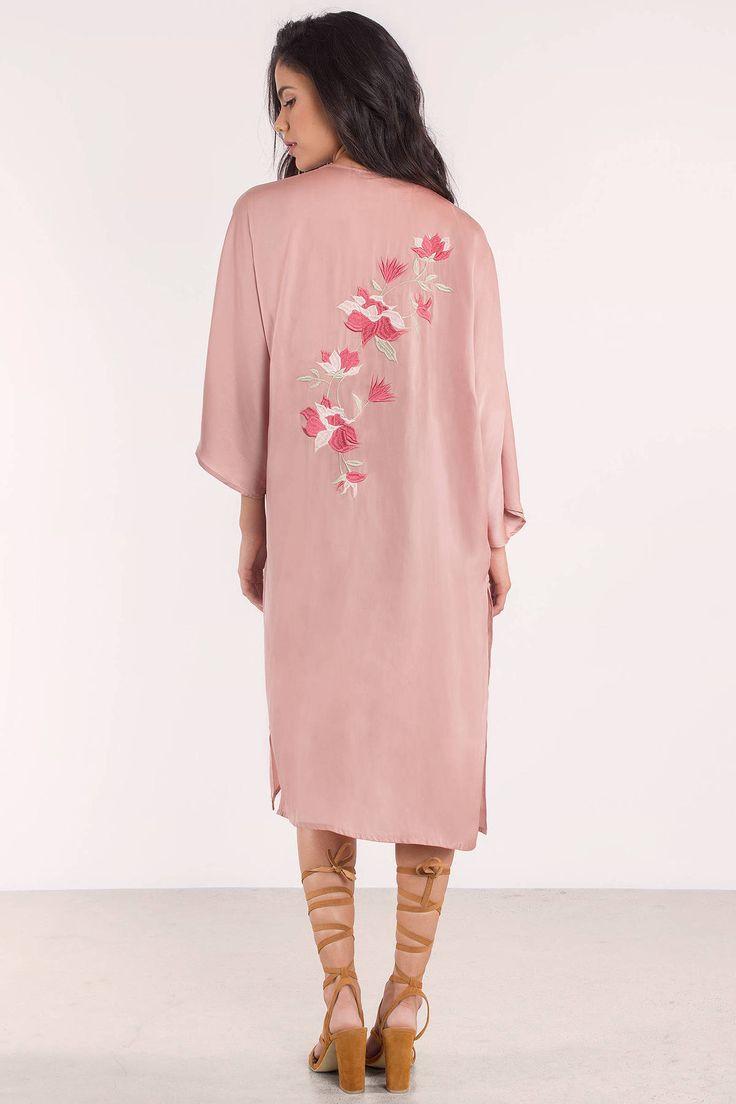 "6d9bae47bc6 Search ""Beverly Satin Embroidered Kimono"" on Tobi.com! pink blush mauve  satin embroidery kimono longline duster open drape front satin silk sateen  flowy ..."