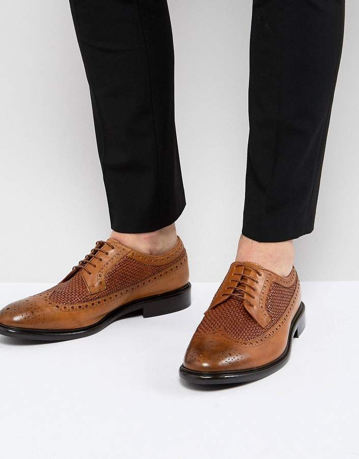 PS Paul Smith Malloy Woven Leather Brogue In Tan