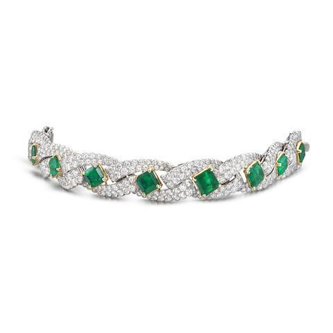 A fine emerald and diamond bracelet, by Cartier,