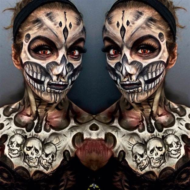 Twin Skull | Spooky Skeleton Makeup Ideas You Should Wear This Halloween