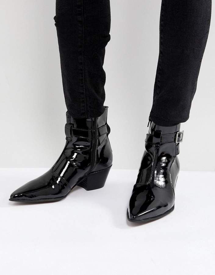 ASOS Chelsea Boots In Black Patent Leather With Stacked Heel