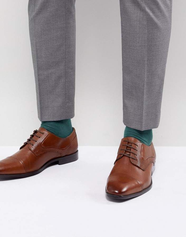 ASOS Derby Shoes In Tan Leather With Diamond Emboss Panel